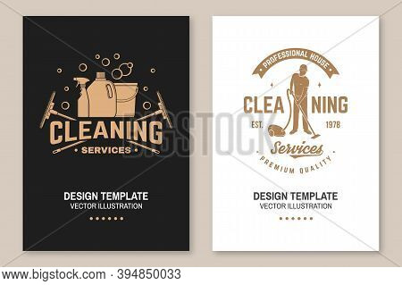 Cleaning Company Covers, Invitations, Posters, Banners, Flyers. Vector Illustration. Vintage Typogra