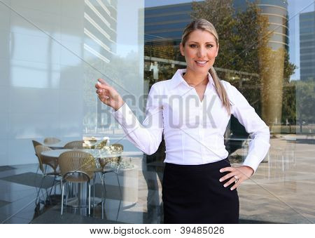 A young pretty blonde business woman giving a presentation