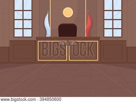Supreme Courthouse Flat Color Vector Illustration. Legal Procedure. Criminal Law. Legislation System
