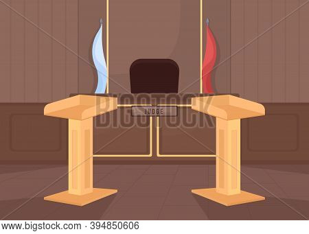 Empty Court Room Flat Color Vector Illustration. Criminal Lawsuit. Prosecution And Attorney Counter.
