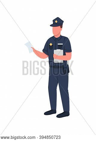 Policeman With Penalty Ticket Flat Color Vector Faceless Character. Man With Fine For Law Violation.