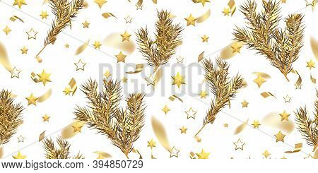 Merry Christmas Seamless Pattern With Christmas Tree Branch, Golden Stars, Falling Golden Tinsel Iso