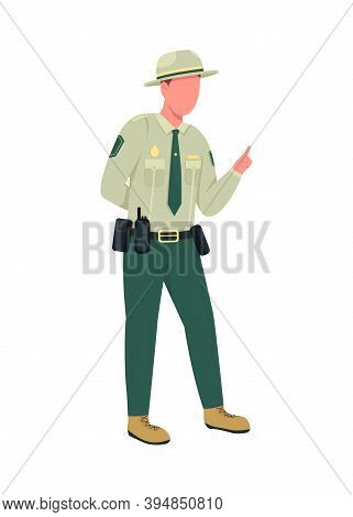 Environmental Police Male Officer Flat Color Vector Faceless Character. Instructor In Uniform With B