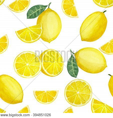 Yellow Lemon Fruit And Sliced Lime And Green Leaves, Illustration Watercolor Drawing Seamless Patter