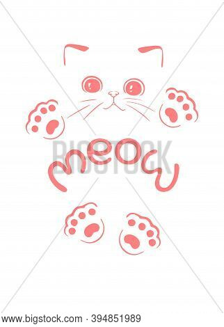 Cute Pink Funny Kitten Vector Silhouette Drawing Illustration Isolate On White Background.outline Ca