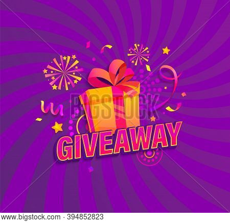Giveaway Banner, Win Poster With Gift Box With Prize To Winner. Template Design For Social Media Pos