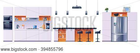 Kitchen Interior Fittings And Appliances, Cartoon Set, Background. Modern Home Kitchen Furniture Ele