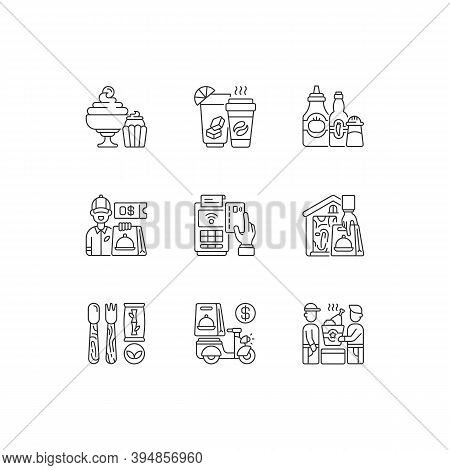 Delivery And Takeout Linear Icons Set. Drinks And Beverages. Condiments And Sauces. Ready-made Dishe