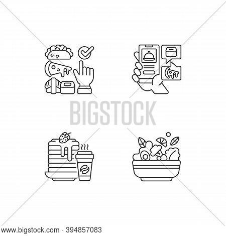Delivering Groceries, Pre-prep, Pre-made Meals Linear Icons Set. Choosing Cuisine. Food Delivery App