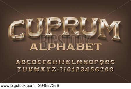 Cuprum Alphabet Font. Steampunk Letters And Numbers With Screws. Stock Vector Typescript For Your De