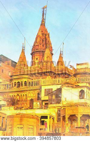 Cityscape From Ganges Colorful Painting, Varanasi, Uttar Pradesh, India.