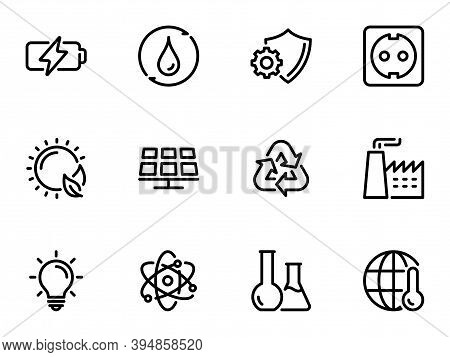 Set Of Black Vector Icons, Isolated On White Background, On Theme Environmental Energy And The Produ