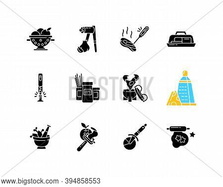 Kitchen Tools Black Glyph Icons Set On White Space. Cooking And Serving Meal. Home Culinary. Food Pr