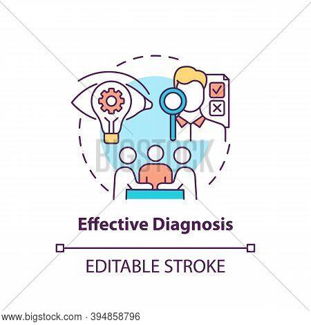 Effective Diagnosis Concept Icon. Business Consulting Stage Idea Thin Line Illustration. Diagnostic