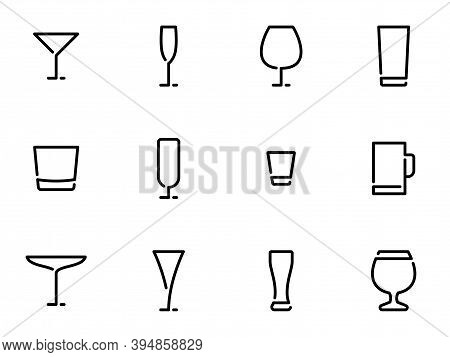 Set Of Black Vector Icons, Isolated On White Background, On Theme Wineglass