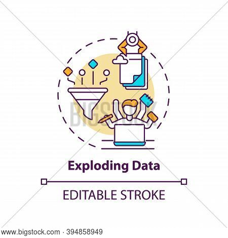 Exploding Data Concept Icon. Business Challenges Idea Thin Line Illustration. Ever-increasing Data A