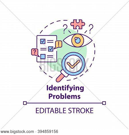 Identifying Problems Concept Icon. Business Consulting Task Idea Thin Line Illustration. Issues Disc