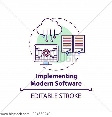 Implementing Modern Software Concept Icon. Business Consulting Task Idea Thin Line Illustration. Res