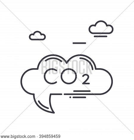 Carbon Dioxide Icon, Linear Isolated Illustration, Thin Line Vector, Web Design Sign, Outline Concep