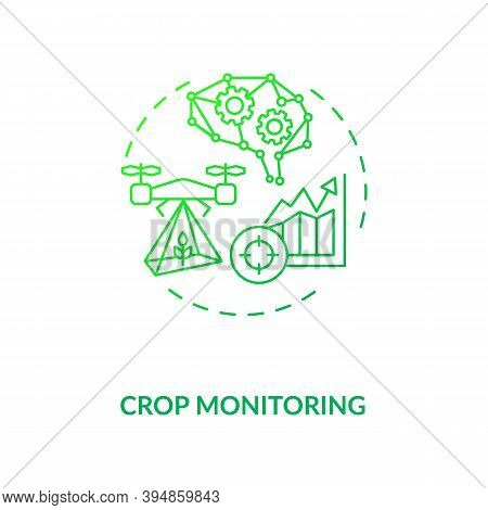 Crop Monitoring Concept Icon. Innovative Agriculture Technology. Analyzing Plant Health Status And G