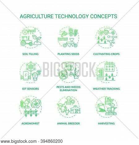 Agriculture Technology Concept Icons Set. Soil Tilling Technology. Planting Plants Seeds On Fields.