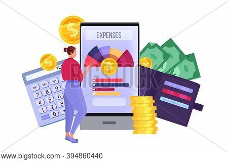 Personal Budget Planning And Monthly Expense Accounting Illustration With Smartphone, Woman, Dollars