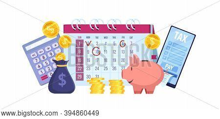 Finance Audit And Personal Budget Planning Vector Illustration With Money, Calendar, Piggy Bank, Sma