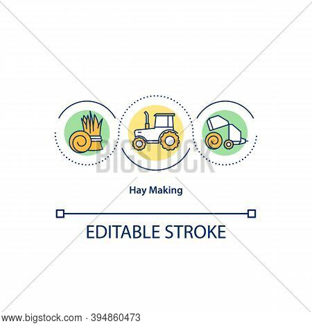 Hay Making Concept Icon. Tractor Making Hay Baley. Bailing. Hay Production And Harvest Idea Thin Lin