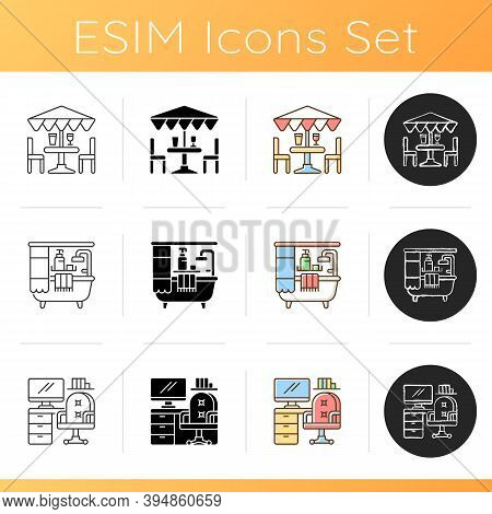Interior Decoration Icons Set. Patio Furniture And Accessories. Bathroom. Home Workspace. Bathtub An