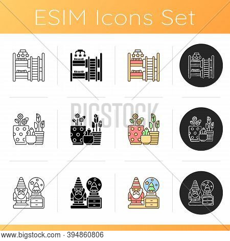Home Accessories Icons Set. Baby And Children Room Furniture. Flower Planters. Decorative Figurines.