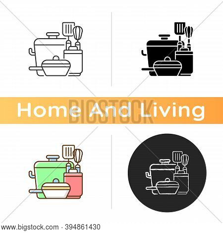 Kitchen Tools Icon. Cooking Supplies. Food Preparation Containers. Cookware And Bakeware. Pots And P