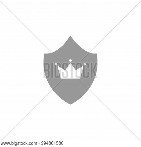 Crown On Shield Icon Isolated On White. Royal, Protection, Noble Sign.
