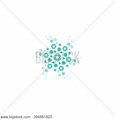 Blue Energy Round Logo Isolated On White. Circles And Dotes Abstract Shape.