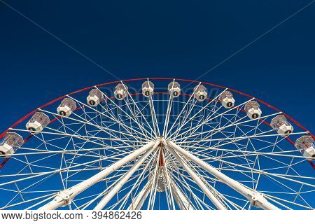 Adelaide, South Australia - January 12, 2019: Glenelg Mix102.3 Giant Ferris Wheel Viewed From The Mo