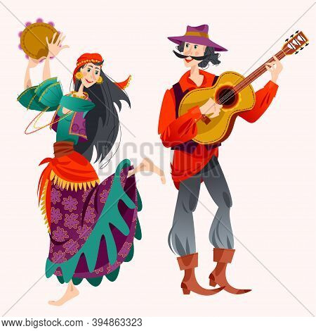 Romany Dance. Roma Gypsy Girl Dancing With A Tambourine, Gypsy Man Playing Guitar. Vector Illustrati