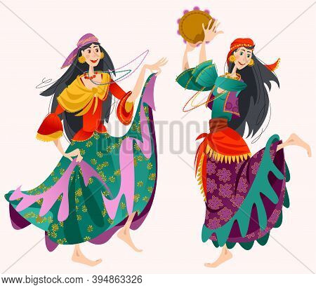Romany Dance. Two Roma Gypsy Girls Dancing. Traditional Dance. Vector Illustration