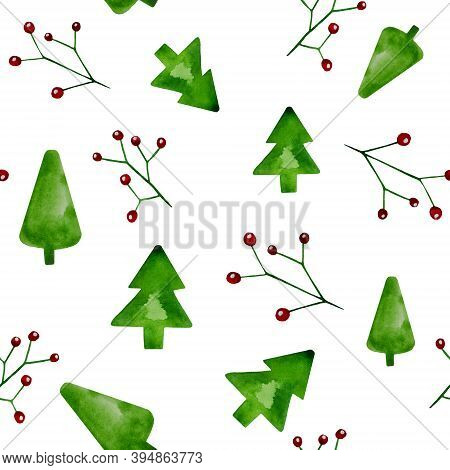 Christmas Watercolor Patterns. Christmas Background. Seamless Patterns On New Year's Theme. Festive
