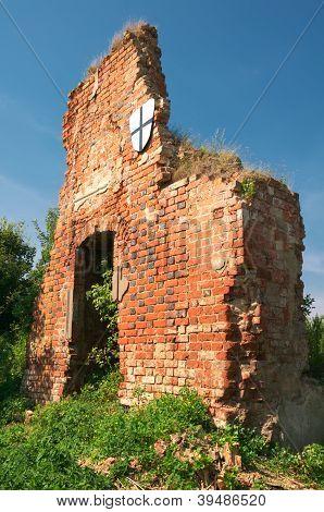 Ruins of Brandenburg castle in Ushakovo Kaliningrad region. Russia poster