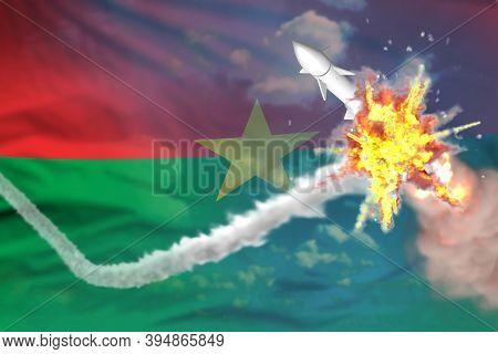 Burkina Faso Intercepted Ballistic Warhead, Modern Antirocket Destroys Enemy Missile Concept, Milita