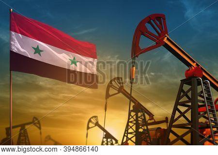Syrian Arab Republic Oil Industry Concept, Industrial Illustration. Fluttering Syrian Arab Republic