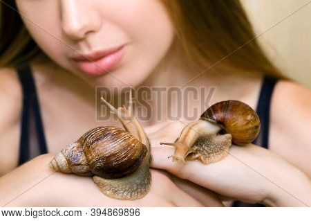 A Young Woman With A Beautiful And Clean Face Is Holding Large Achatina Snails. The Concept Of Using