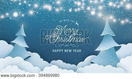 Merry Christmas And Happy New Year Invitation Vector Background. Winter Holiday Banner With Light Ga