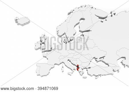 3d Europe Map With Marked Borders - Area Of Albania Marked With Albania Flag - Isolated On White Bac