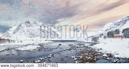 Fantastic Winter Scene Of Kartfjorden On Vestvagoy Island With Snowy  Mountain Peaks On Lofoten Isla