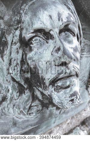 Bas-relief Of Jesus. Antique Statue Of Jesus Christ Face. Religion, Vintage, Faith, History, Sufferi