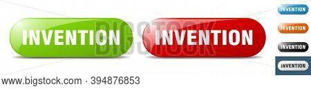 Invention Button. Key. Sign. Push Button Set