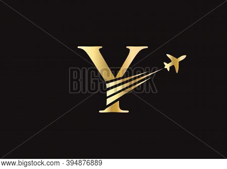 Air Travel Y Logo Design With Y Letter. Letter Y Air Travel Logo Design Template.