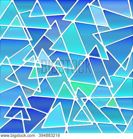 Abstract Vector Stained-glass Mosaic Background - Blue Triangles