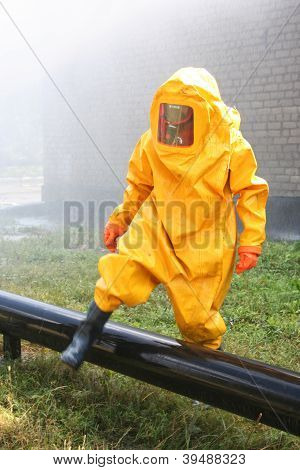 Man In Yellow Chemical Suit