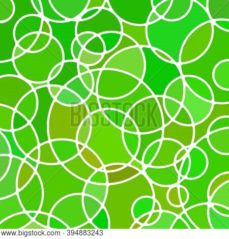 Abstract Vector Stained-glass Mosaic Background - Green Circles